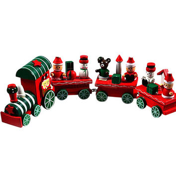 4pc Wooden Christmas Train Ornament Decor Gift