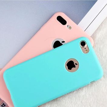 THREE-DIAO Candy Soft TPU phone cases For iPhone X 5 5S SE 6 6S 7 8 Plus Silicon Coque window Accessories Fundas luxury Cover