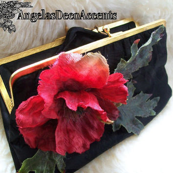 Vintage Satin Clutch, Upcycle Black Purse, 1960s Saks 5th Ave, Silk Fllower, Red Poppy Flower, Leaves, Chained Mini Wallet, Good Condition