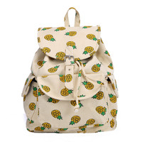 Retro Pineapple Printed Backpacks Bookbags Travel Laptop Bags