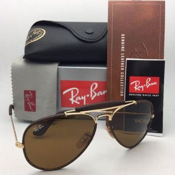 New RAY-BAN Sunglasses RB 3422-Q 9041 Gold & Brown Leather Aviator w/ B-15 Brown
