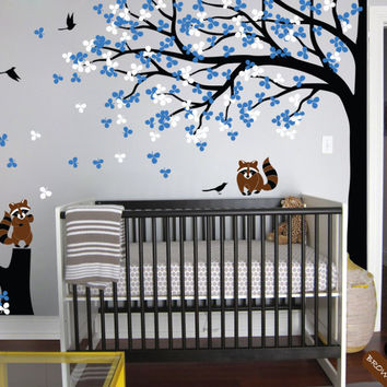 Large Wall Tattoo Modern Baby Nursery Corner Trees Wall Decal with Flying Birds Squirrels and Leaves Wall Stickers JW214