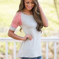 There She Goes Lace Blouse Grey