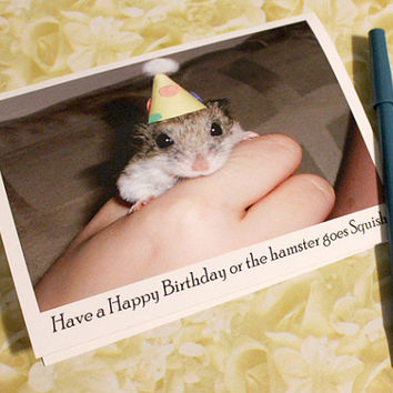 Catty Cards Greeting Cards. Hammy the Hamster Wants to Wish You a Happy Birthday. Mouse or Rat with Hat. Funny Blank Birthday Card Photo