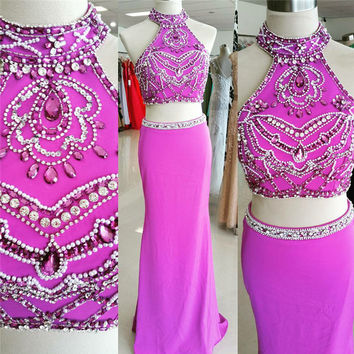 2017 Two Pieces 2 Mermaid  Prom Dress Satin Sleeveless prom dress for girls Promotion Appliques Formal Gowns vestidos longo