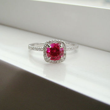 Halo Ruby Diamond Ring Gemstone Engagement Ring by PenelliBelle