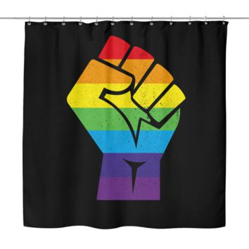 "LGBT Gay Pride Shower Curtain by Living Gay | Resistance Fist, 70"" x 70"", 100% Woven Polyester"