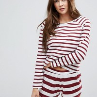 ASOS Burgundy Stripe Long Sleeve Tee & Short Pajama Set at asos.com