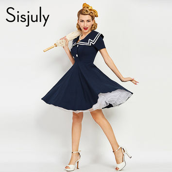 Sisjuly women vintage dress 1950s 50s nautical style summer retro dark blue dresses cotton sailor collar button vintage dress