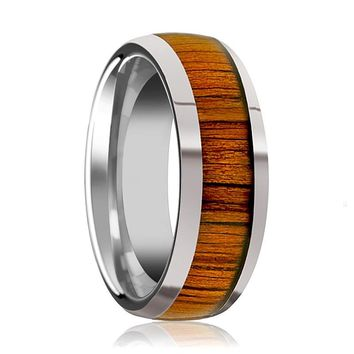 Tungsten Wood Ring - Koa Wood Inlay - Tungsten Wedding Band - Polished Finish - 8mm - Tungsten Wedding Ring