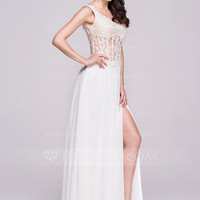 [ 149.99] A-Line/Princess V-neck Floor-Length Chiffon Prom Dress With Beading Appliques Lace Sequins Split Front (018109303)