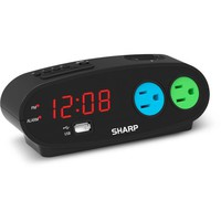 Sharp Alarm with USB and Outlets, Black - Walmart.com