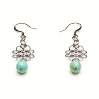 European 4-in-1  Black Ice Aluminium Chainmaille Earrings with Genuine Turquoise Beads