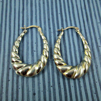Sterling Silver Long Twisted Hoop Earrings with Lever Back Posts Twisted Look Silver with Gold in the Lines Great Condition Latch Secure