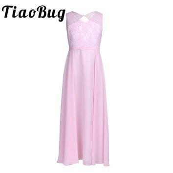TiaoBug Girls Chiffon Cutout Back Princess Girl Dress Tulle Tutu Lace Pageant Wedding Bridesmaid Party Maxi Floor Length Dress