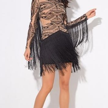Hooked On A Feeling Nude Black Sheer Mesh Lace Fringe Long Sleeve Crew Neck Mini Dress