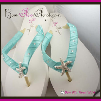 Wedding Flip Flops Bride Starfish Wedge Swarovski Bridal Ivory White Platform Rhinestone Satin Flip Flops in Tiffany Blue Robin's Egg