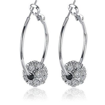 BEMI Romantic GoldSilverRose Gold Plated Polishing Micro Inlay Rhinestone Ball Hoop Earrings for Woman