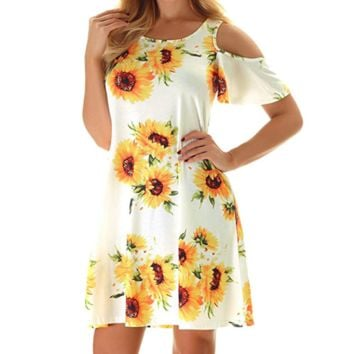 Fashion New Floral Print Short Sleeve Dress Women White
