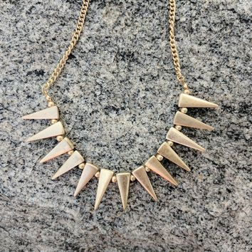 Matte Gold Spike Chain Choker