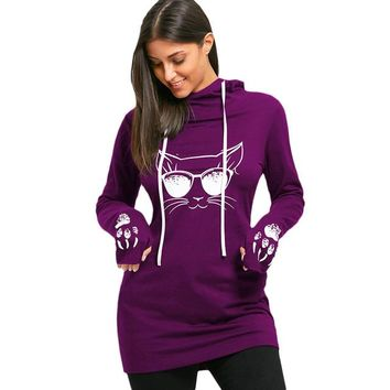 Cat Face Paw Long Sleeves Hoodie - Built In Attached Gloves Sweater