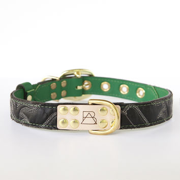 Emerald Green Dog Collar with Black Leather + White Stitching