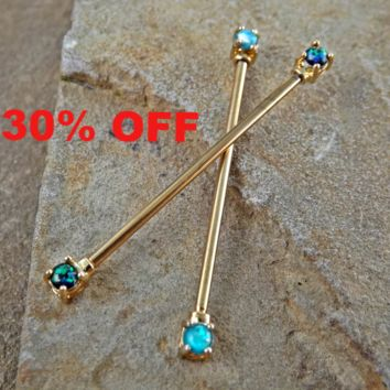 Gold Opal Industrial Barbell Opal Ends Scaffold Piercing 14ga 316L Surgical Steel Body Jewelry