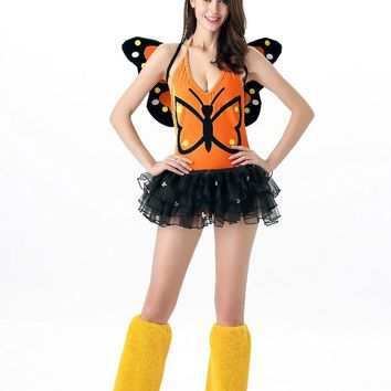 MOONIGHT Adult Fantasy Butterfly Costume Sexy Cute Fairy Costume Yellow Deluxe Women Magic Costume Halloween
