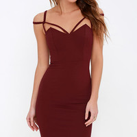 Under A Spell Maroon Midi Dress