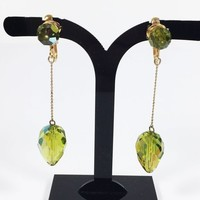 Lime Green Aurora Borealis Teardrop Dangle Drop Clip On Earrings Vintage 1980s 1990s Gold Tone Chain & Citrine Color Faceted Glass Prom