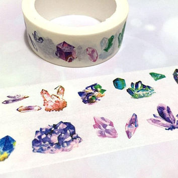 crystal diamond washi tape 5M raw crystal raw diamond colorful gemstone masking tape vintage Jewelry diamond shape jewellery stone sticker