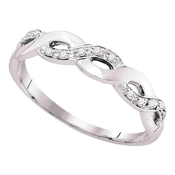 10kt White Gold Women's Round Diamond Woven Twist Band Ring 1/12 Cttw - FREE Shipping (US/CAN)