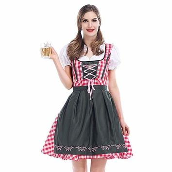 Womens Beer Costume Oktoberfest Halloween Party Maid Plaid Fancy Dress Plus Size
