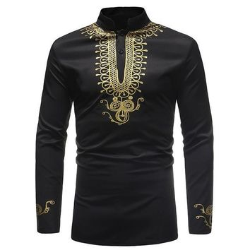 Black and Gold scroll Mens Hipster African Dashiki Longline Shirt