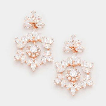 Floral Cubic Zirconia Dangle Evening Earrings