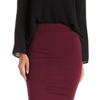 Dark Purple Ponte Knit Pencil Skirt by Charlotte Russe
