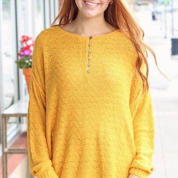{Goldenrod} Button Me Oversized Knit Sweater