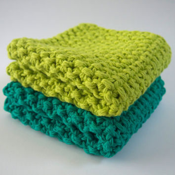 hand knit plushy cotton washcloth set in lime and kelly mint green