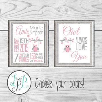 Owl Nursery Decor, Gift for Baby, Owl Nursery Birth Stats Print, Baby Christmas Gift, Custom Owl Baby Gift, Owl Birth Announcement, Owl gift