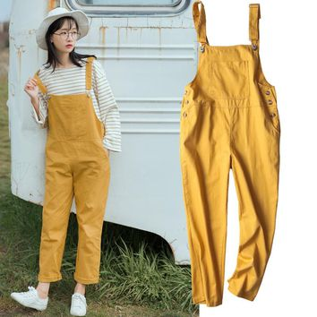 707be0c008a5 korean style preppy big pocket loose Overalls Streetwear salopet