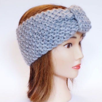 Irish handknit light gray earwarmer headband 100% wool women knitted teenager skiing holiday winter fall chunky knit grey