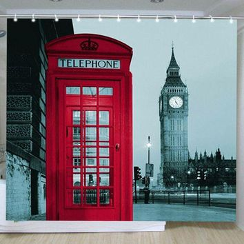 DCCKL72 New Famous City Landmark Pattern London Big Ben Polyester Shower Curtain Waterproof  Home Bathroom Curtains