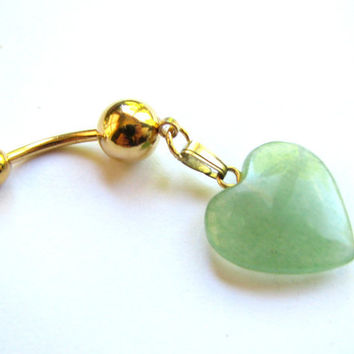 Jade Heart Belly Button Jewelry Semi Precious Stone Belly RIng Gold