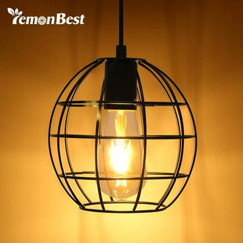 Industrial Vintage Round Cage Pendant Light Sconce Hanging Droplight
