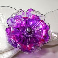 Purple Napkin Ring Set, lilac wedding, tabletop home decor decorations, flower, upcycled water bottle