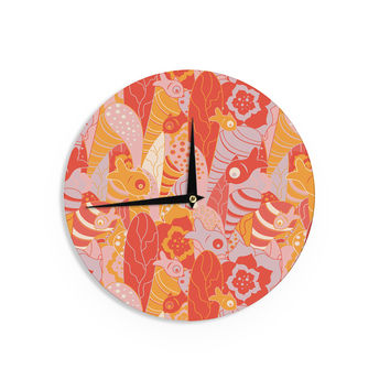 "Akwaflorell ""Fishes Here, Fishes There"" Orange Red Wall Clock"