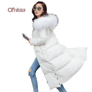 OMLESA Long Winter Down Coat for Women 2017 New High Quality Fashion Duck Down Puffer Jacket Hooded Fur Long Female Parkas YQ252