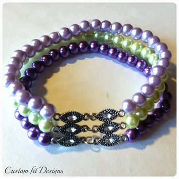 Pearl Stretch Bracelet in Dark Purple, Light Purple and Lime With Silver and CZ Accents. Cubic Zirconia Bracelet Gift for Her. Christmas