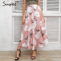 Tassel floral print long skirt women Button tie up beach maxi skirt  Casual