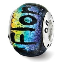 Sterling Silver Florida Dichroic Glass Bead